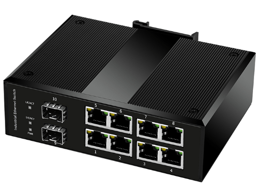 Industrial Switch 2*1000M SFP Slot + 8 port 10/100/1000Base-Tx, with POE (W/O SFP module)